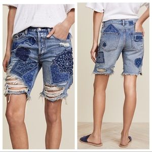 Free People Heartbreaker Patched Denim Shorts